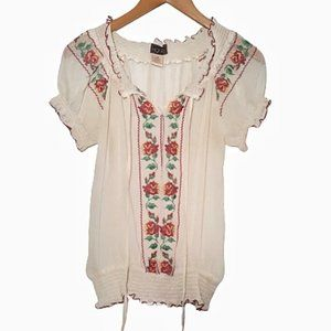 Vintage Embroidered Peasant Blouse S/M